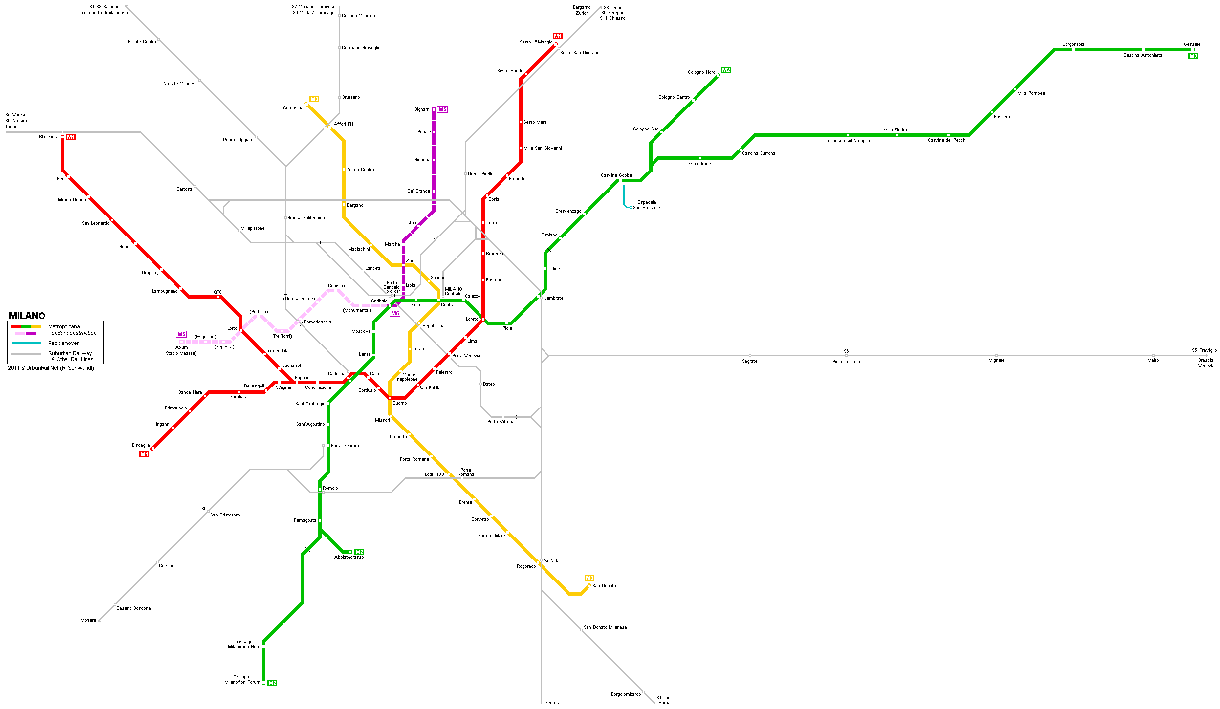 Tram map of Milan