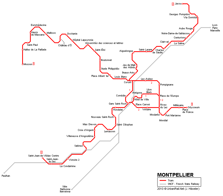 Montpellier Tram Map for Free Download Map of Montpellier Tramway