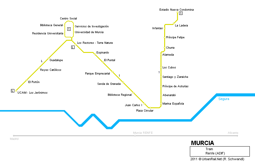 Murcia Tram Map for Free Download Map of Murcia Tramway Network
