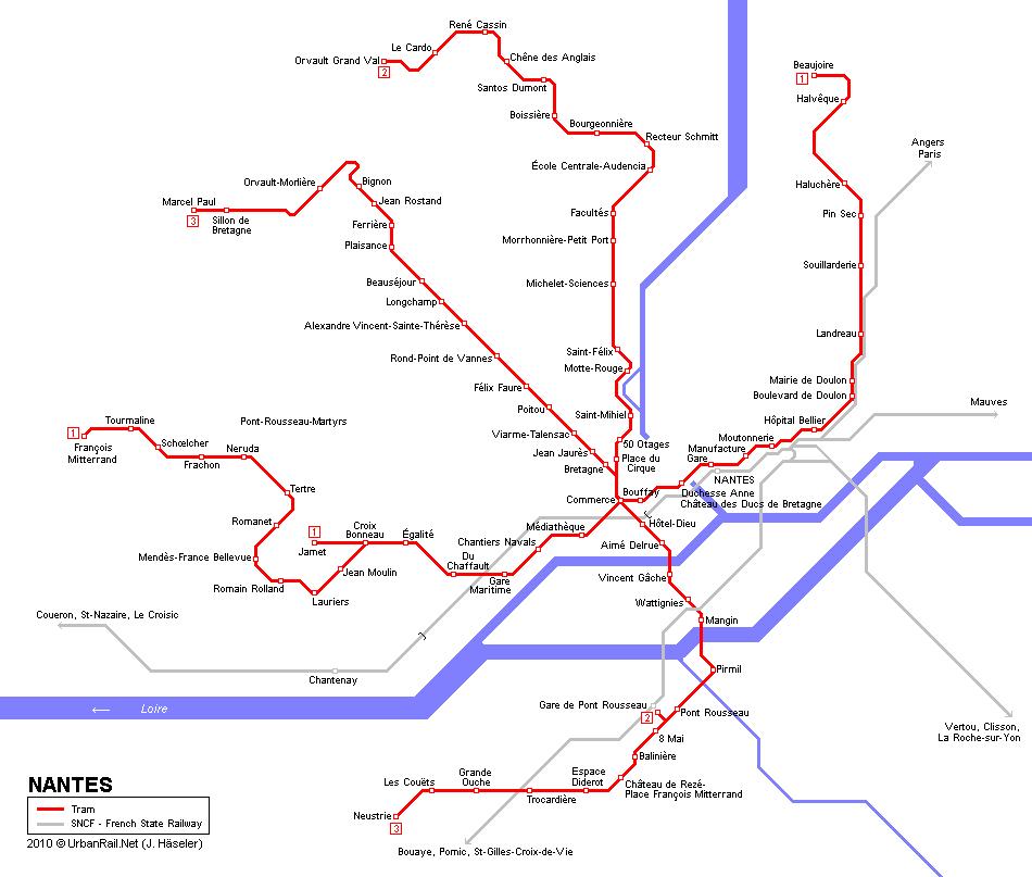 Mapa de tranvías de Nantes