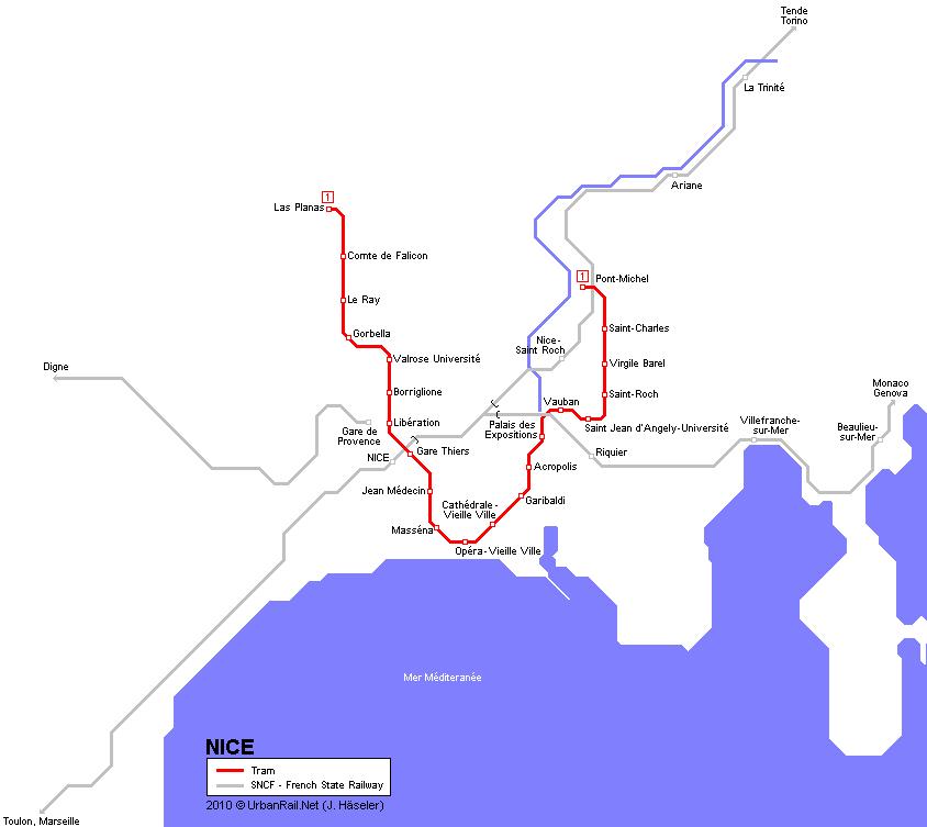 Mapa de tranvías de Niza