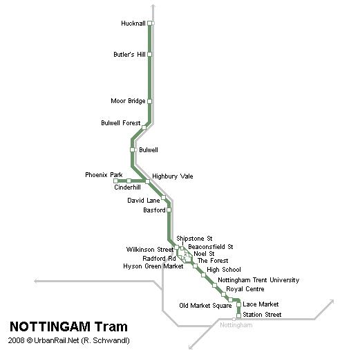 Nottingham Tram Map Nottingham Tram Map for Free Download   Map of Nottingham Tramway  Nottingham Tram Map