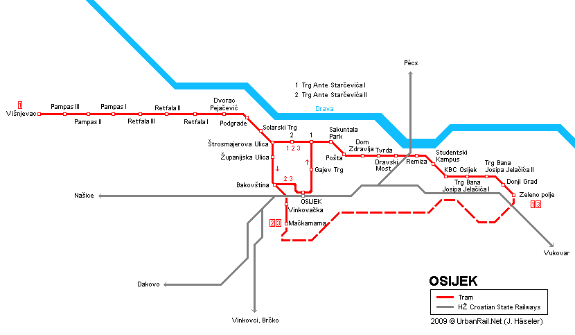 Tram map of Osijek