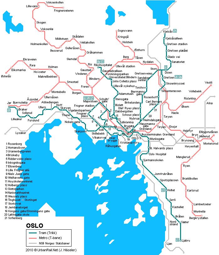 Карта трамваев Осло