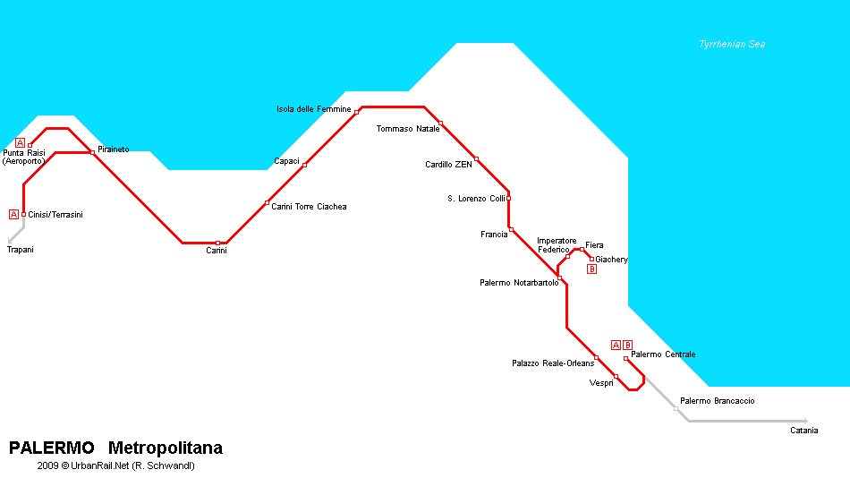 Tram map of Palermo