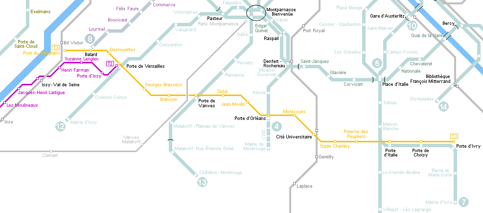 Tram map of Paris