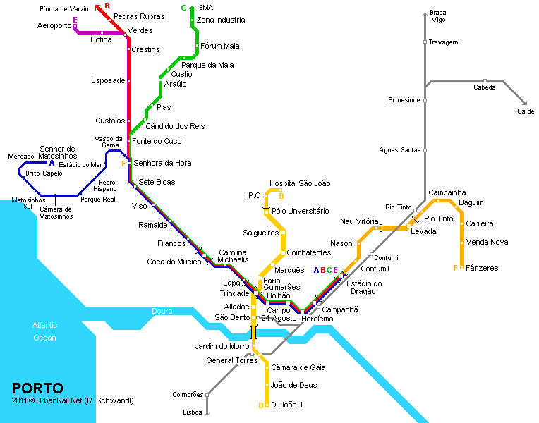 Porto Tram Map For Free Download Map Of Porto Tramway Network - Portugal map metro