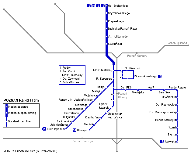 Карта трамваев Познани