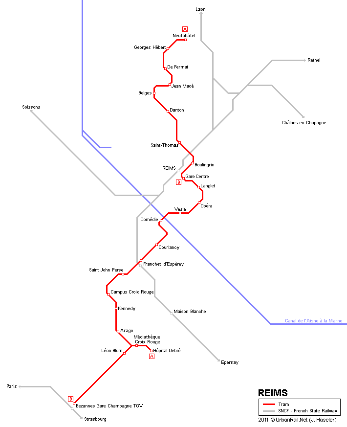 Reims Tram Map for Free Download Map of Reims Tramway Network