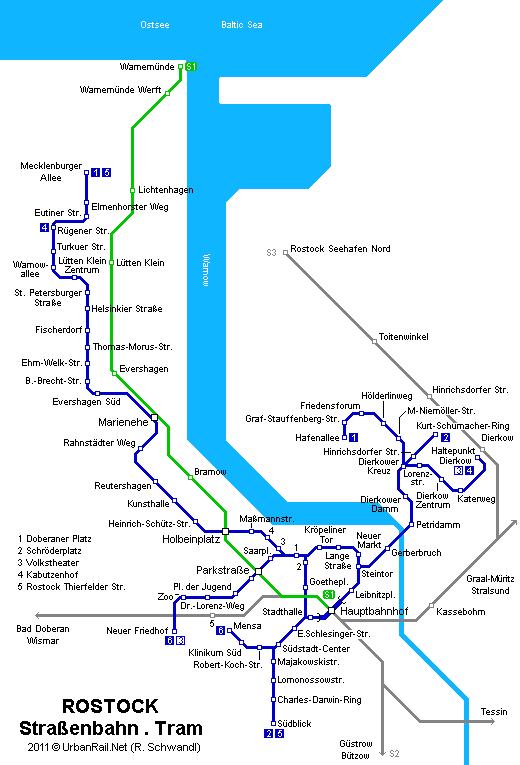 Mapa de tranvías de Rostock