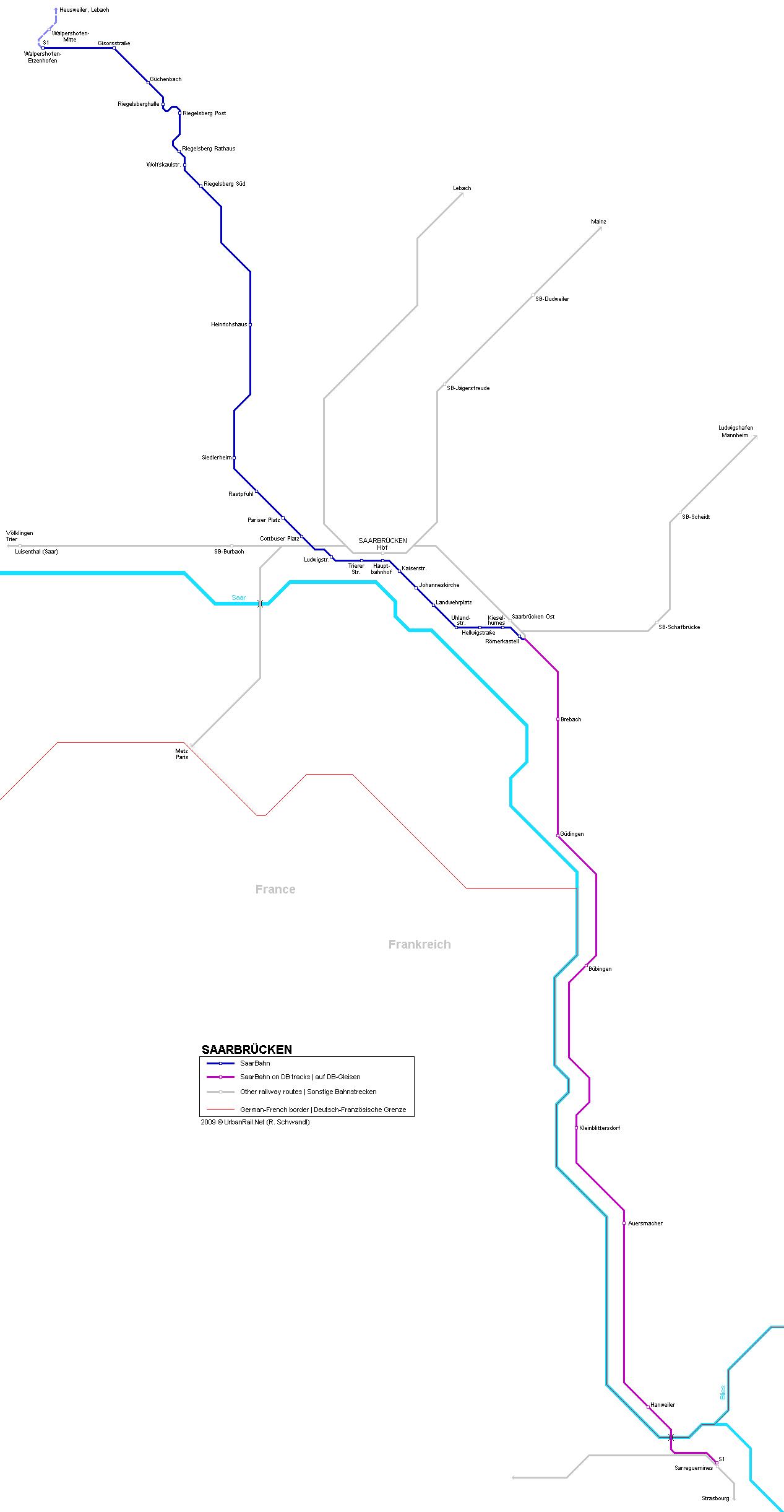 Mapa de tranvías de Saarbrucken
