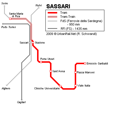Tram map of Sassari