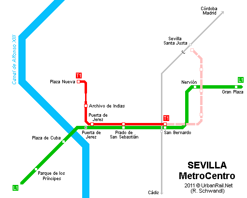 Seville Subway Map.Sevilla Subway Map For Download Metro In Sevilla High Resolution