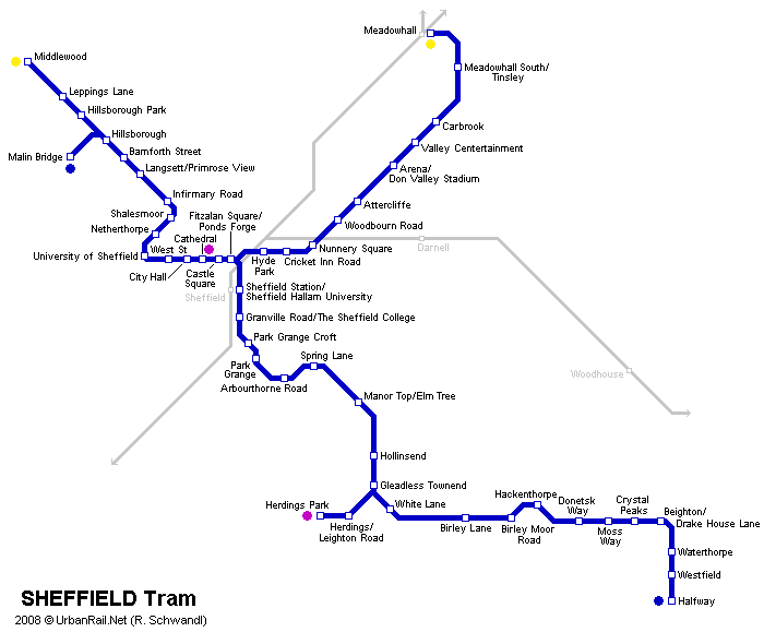 Sheffield Tram Map for Free Download   Map of Sheffield ...