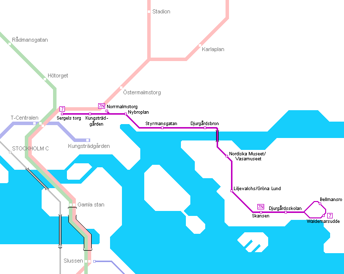 Tram map of Stockholm