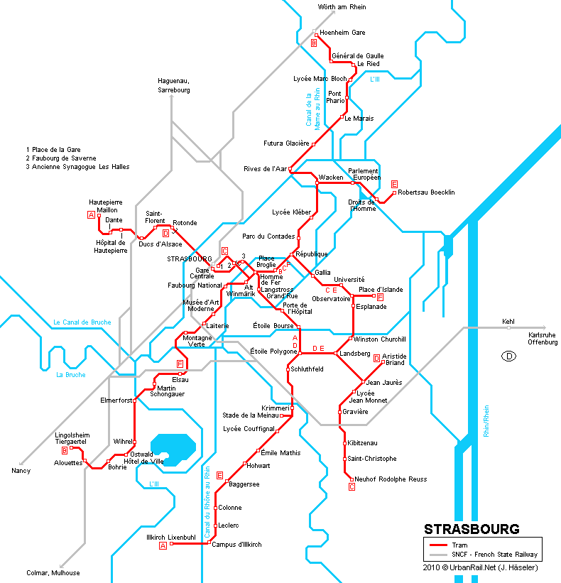 Tram map of Strasbourg