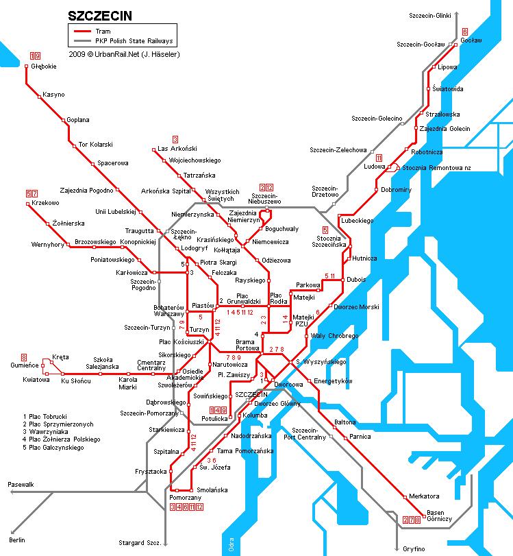 Карта трамваев Щецина