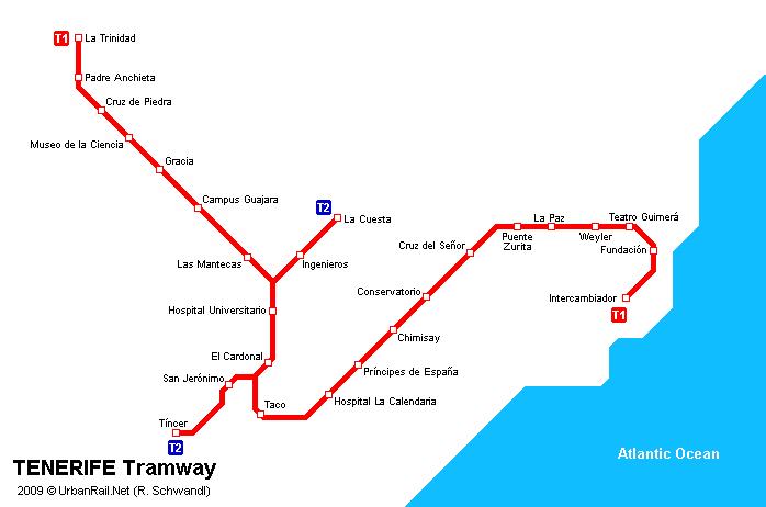 Straßenbahn Netzplan von Teneriffa