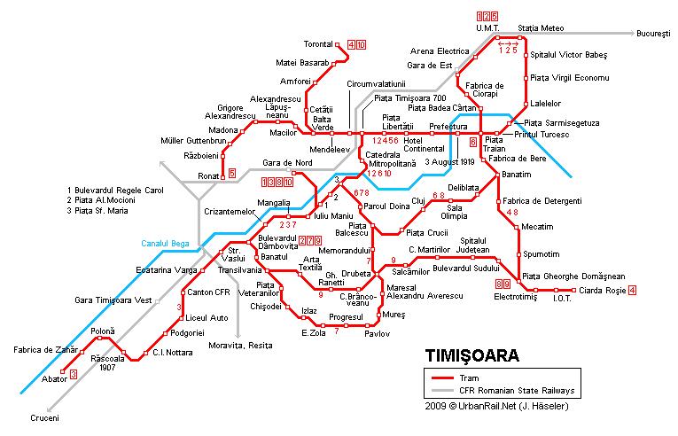 Tram map of Timisoara