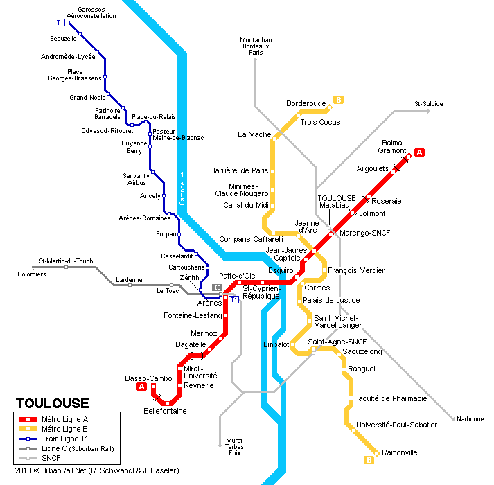 Toulouse Tram Map for Free Download Map of Toulouse Tramway Network