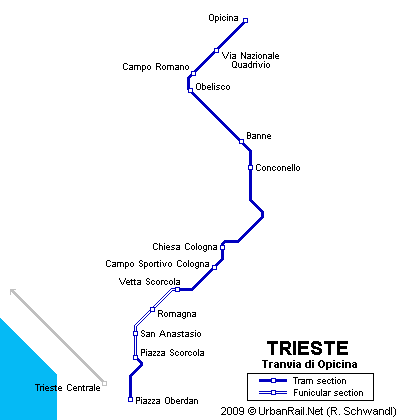 Tram map of Trieste