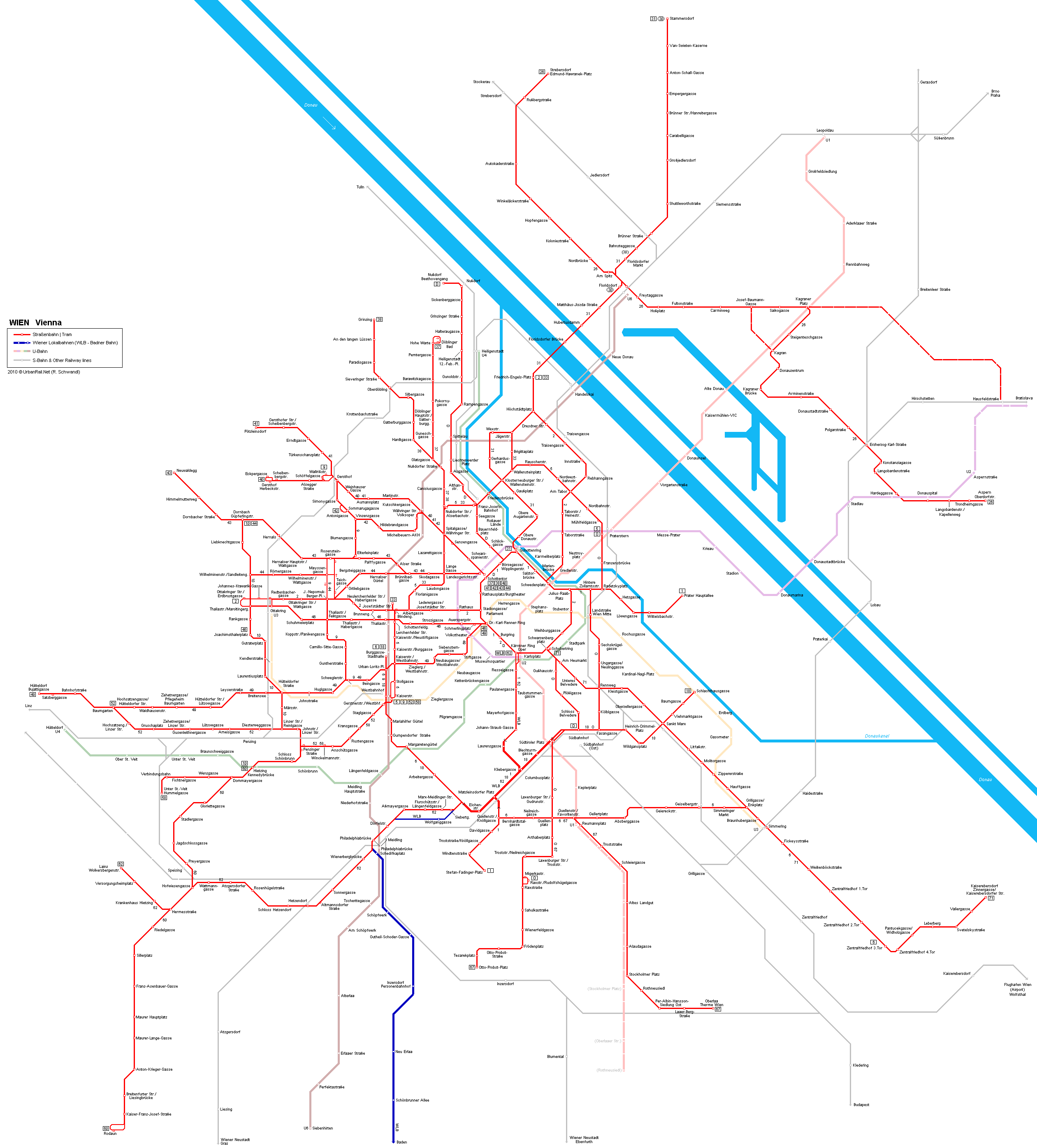 Tram map of Vienna