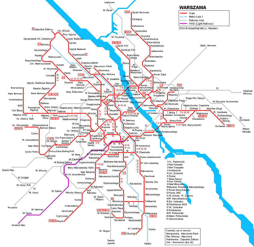 Tram map of Warsaw