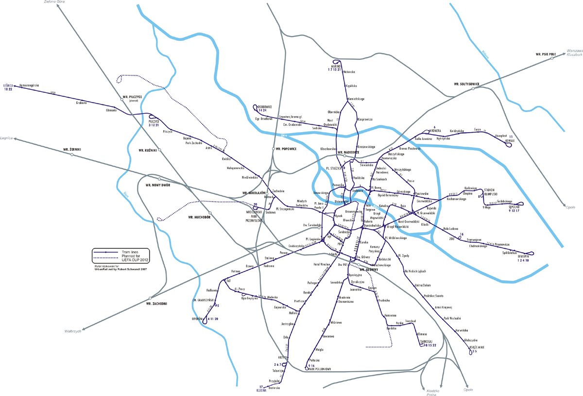Tram map of Wroclaw