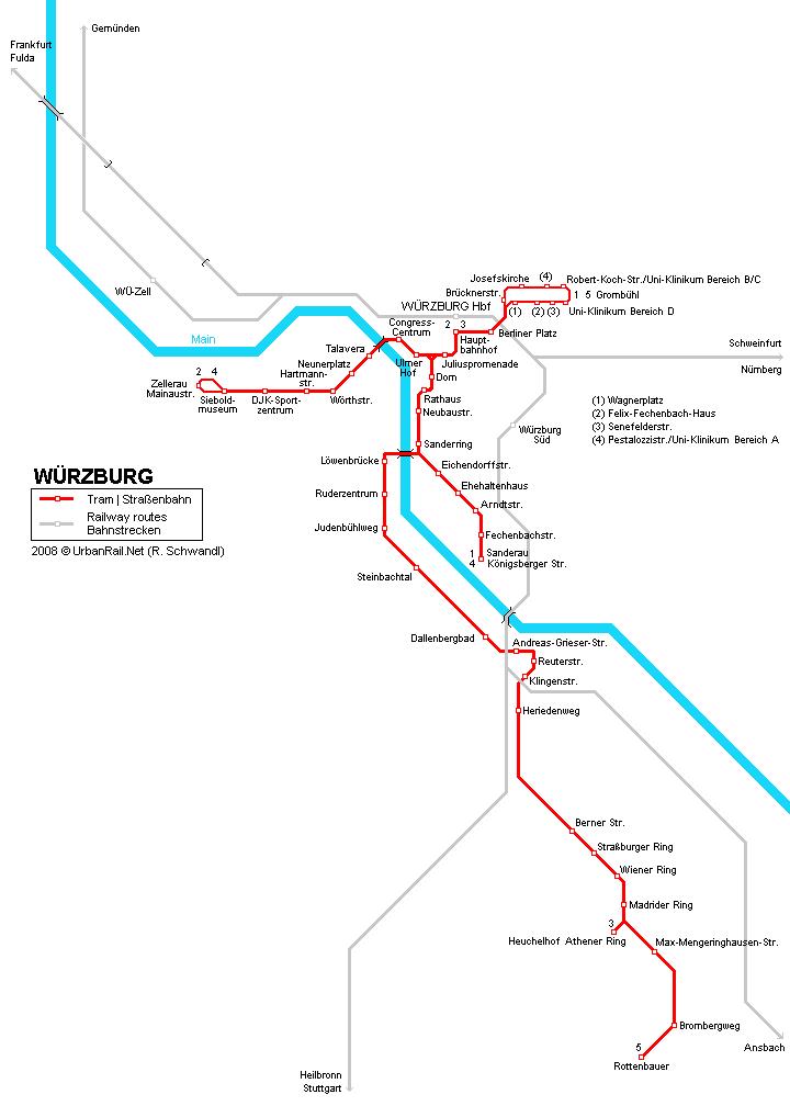 Mapa de tranvías de Wurzburgo