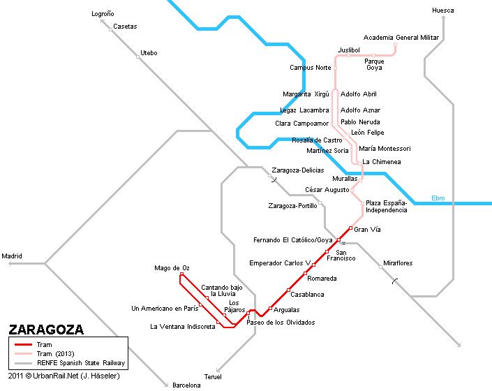 Zaragoza Tram Map for Free Download Map of Zaragoza Tramway Network