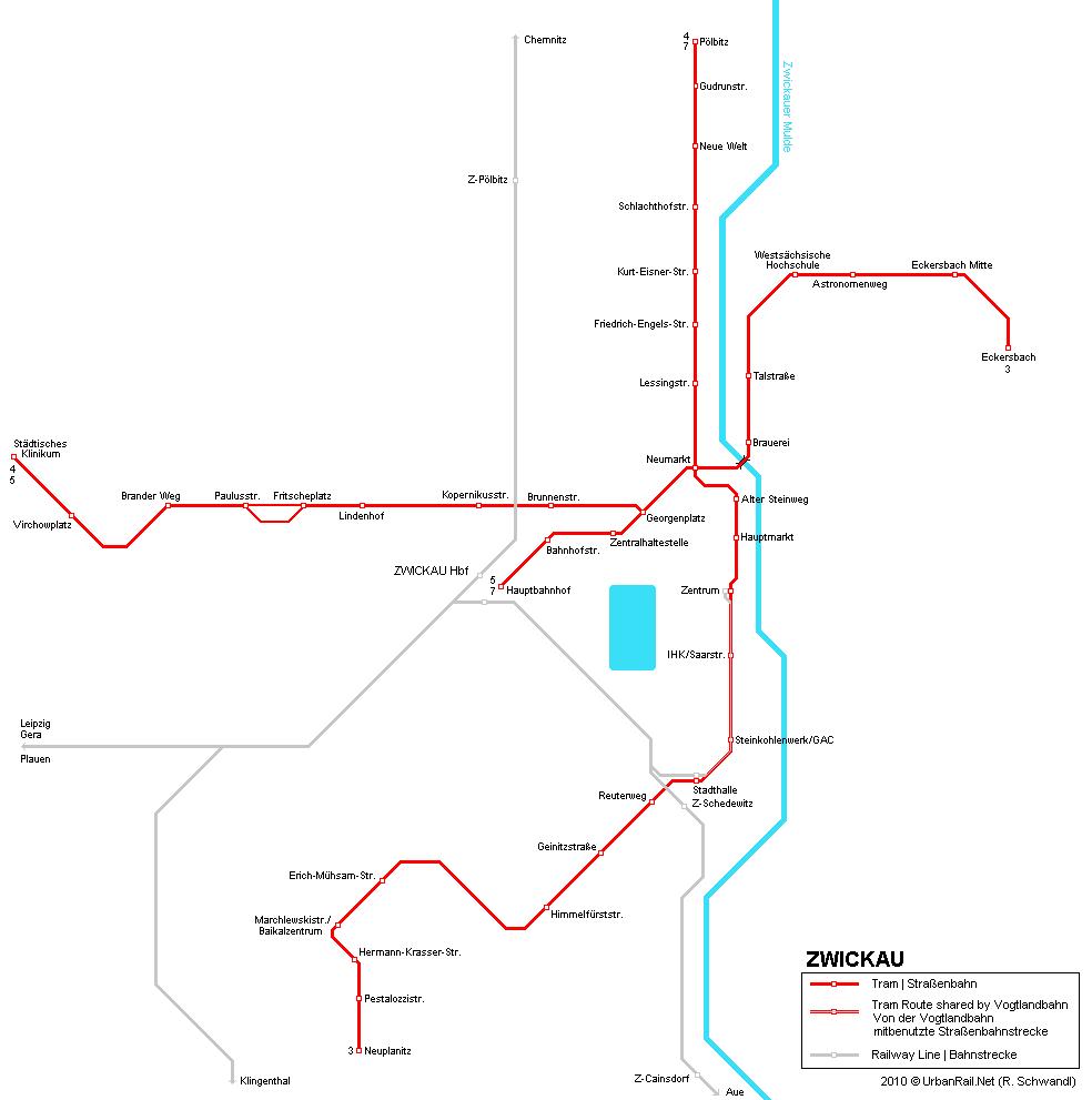 Zwickau Karte.Straßenbahn Karte Zwickau Gedruckte Karte Des Straßenbahnnetzes In