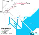Mapa de rutas de tranvía en Mestre