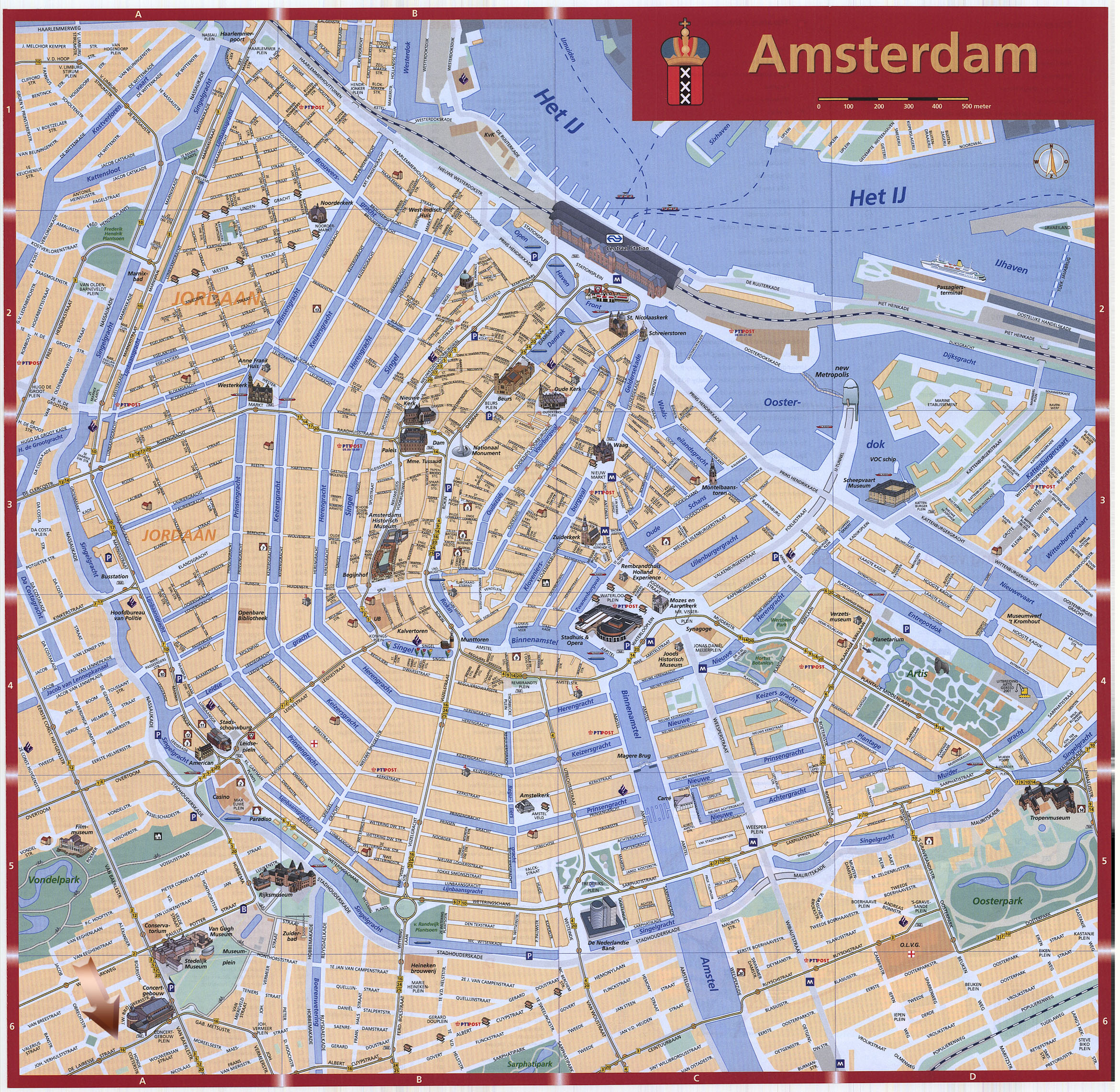 Amsterdam Map Detailed City and Metro Maps of Amsterdam for – Tourist Map Of Amsterdam