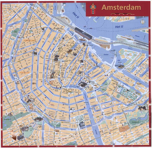 High-resolution large map of Amsterdam - download for print out