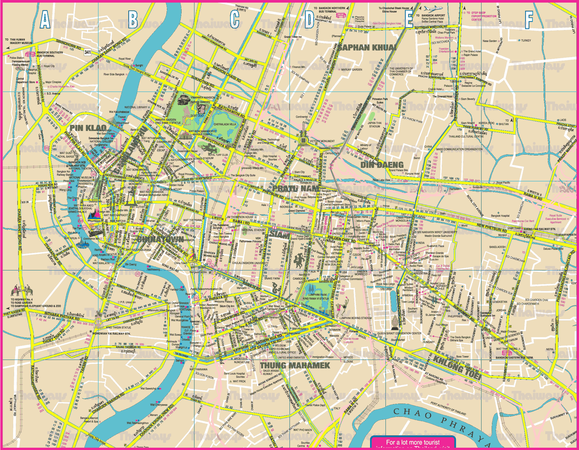 Bangkok City Map Bangkok Map   Detailed City and Metro Maps of Bangkok for Download