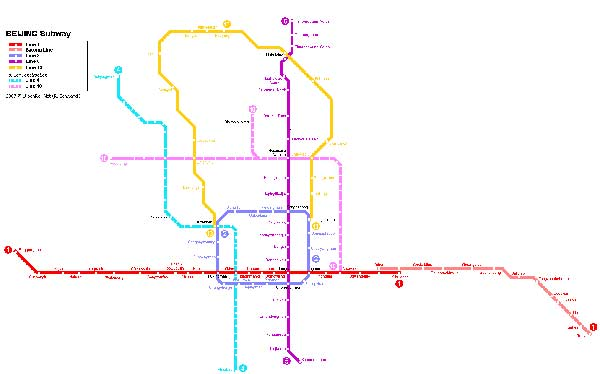 Detailed metro map of Beijing - download for print out