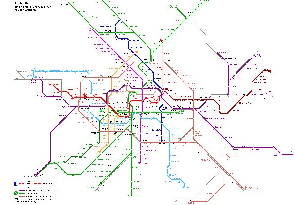Detailed metro map of Berlin - download for print out