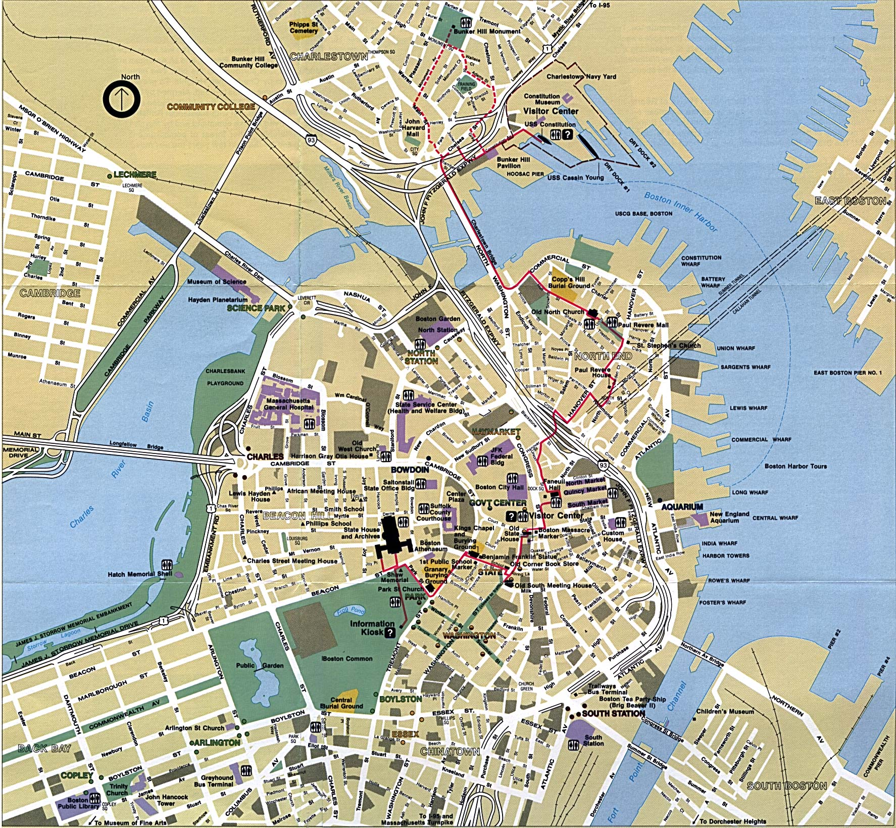 Detailed city map of Boston street map – Boston City Map Tourist