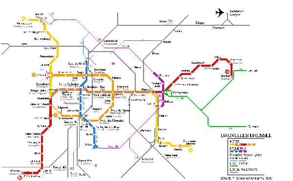 Detailed metro map of Brussels - download for print out