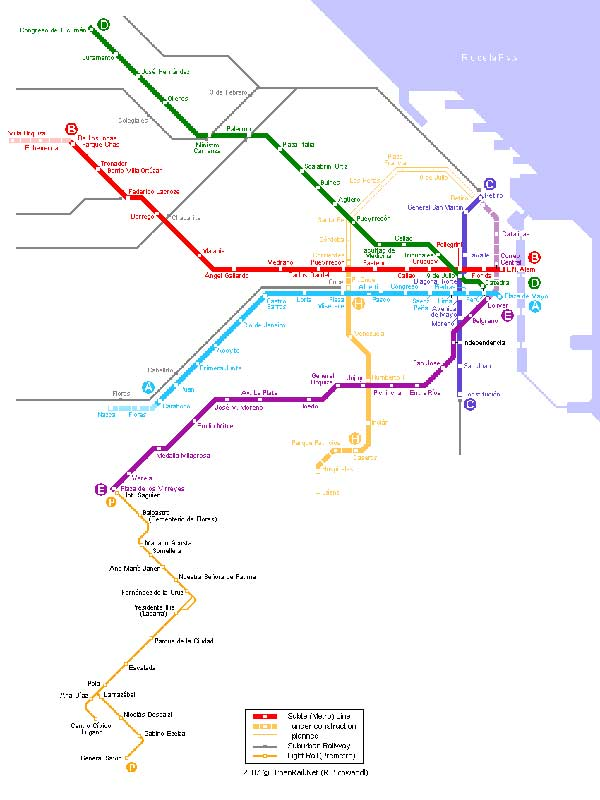 Detailed metro map of Buenos Aires - download for print out