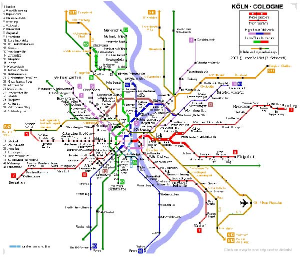 Detailed metro map of Cologne - download for print out