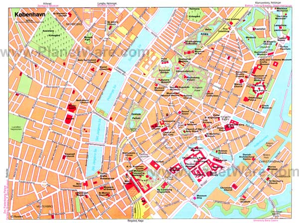 High-resolution large map of Copenhagen - download for print out
