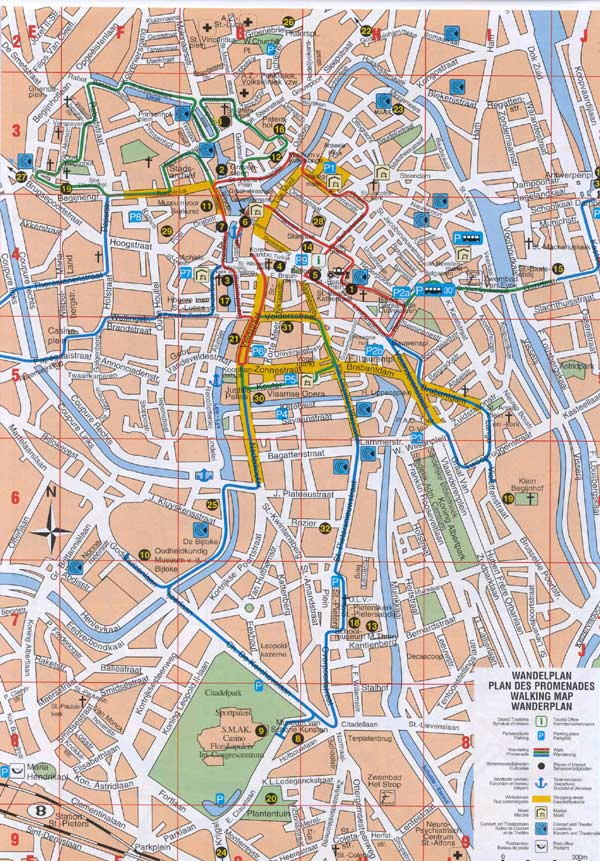 High-resolution large map of Gent - download for print out