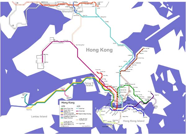 Detailed metro map of Hong Kong - download for print out