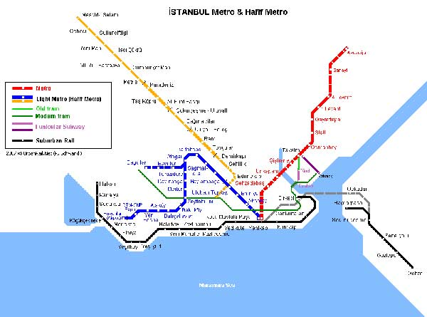 Detailed metro map of Istanbul - download for print out