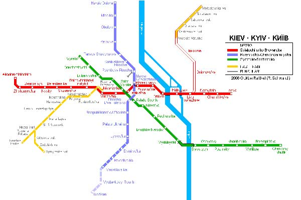 Detailed metro map of Kiev - download for print out