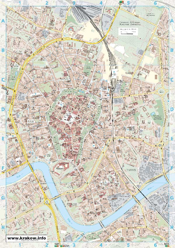 High-resolution large map of Krakow - download for print out