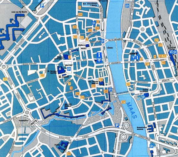 High-resolution large map of Maastricht - download for print out