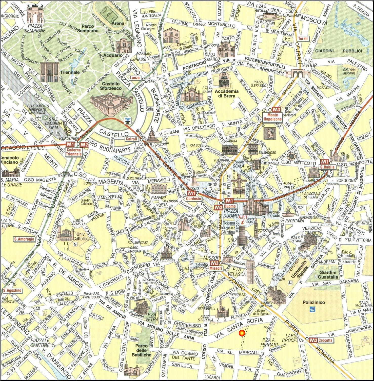 Milan Map Detailed City and Metro Maps of Milan for Download – Rome Tourist Map PDF