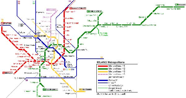 Detailed metro map of Milan - download for print out